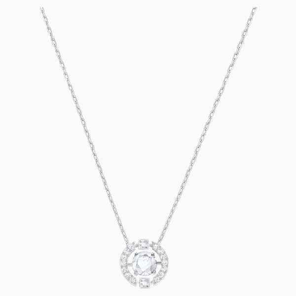 Swarovski SWAROVSKI Sparkling Dance Round Necklace - White & Rhodium Plated - Gemorie