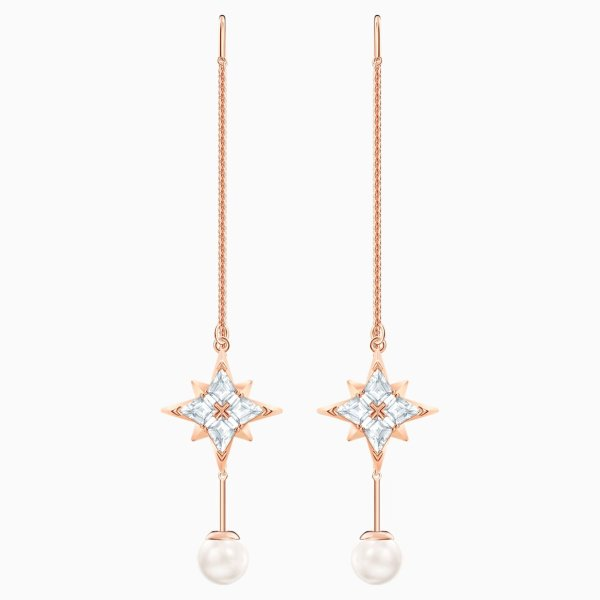 Swarovski SWAROVSKI SYMBOLIC CHAIN PIERCED EARRINGS, WHITE, ROSE-GOLD TONE PLATED - Gemorie