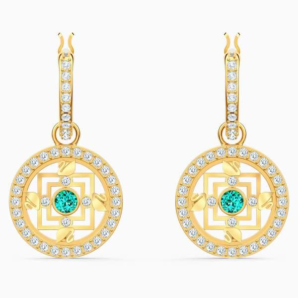 Swarovski SWAROVSKI Symbolic Mandala Hoop Earrings - Green & Gold Tone Plated - Gemorie