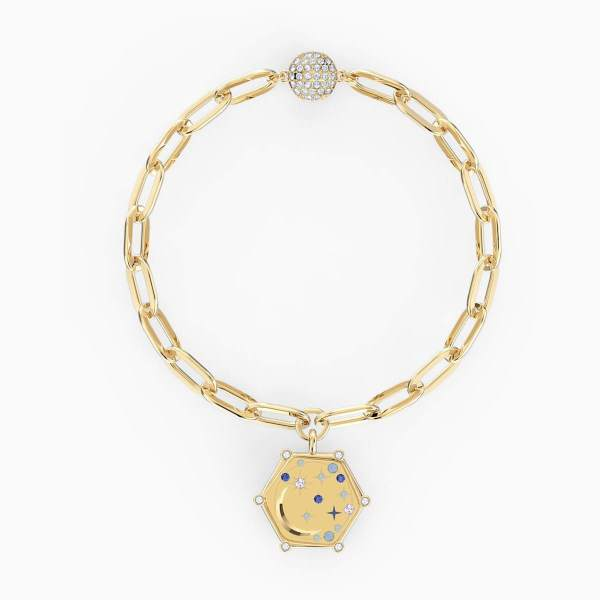 Swarovski SWAROVSKI Women's The Elements Moon Bracelet - Blue & Gold-Tone Plated - Gemorie