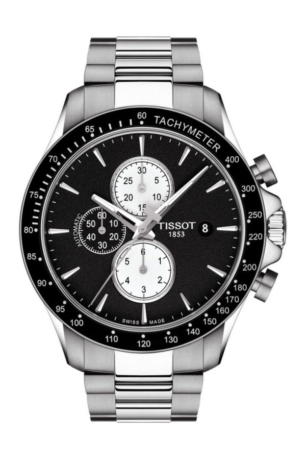 Tissot TISSOT V8 45MM Automatic Black Dial Watch.- Stainless Steel - Gemorie