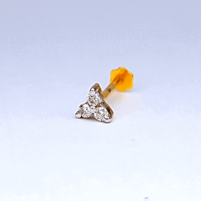 ৩ দানা হীরার বা ডায়মন্ডের নাকফুল - 3 Stone Diamond Nose Pin