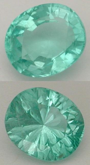 concave faceted tourmaline gem