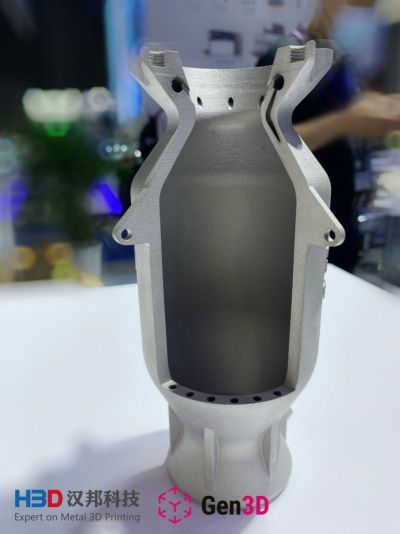 Rocket nozzle with conformal cooling, printed using Iconel718