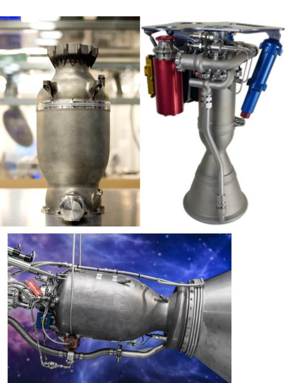 Rocket nozzles produced using additive manufacturing by Space X Rocket Lab and Orbex