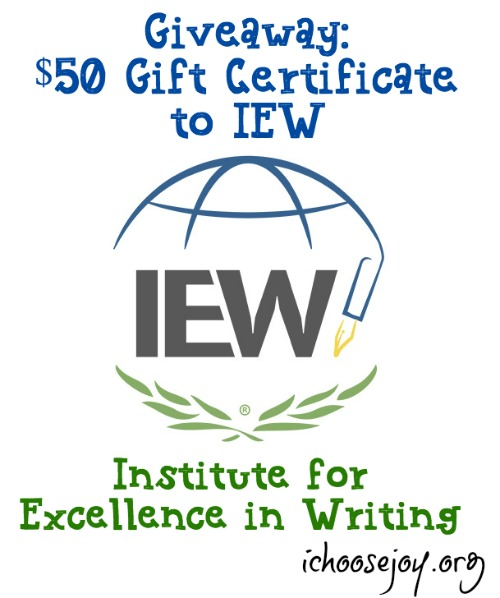 Giveaway $50 Gift Certificate to IEW, ends July 31. Writing, spelling, grammar resources ~ and more!