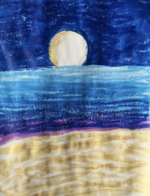 Moon over the Water painted with Kwix Stix
