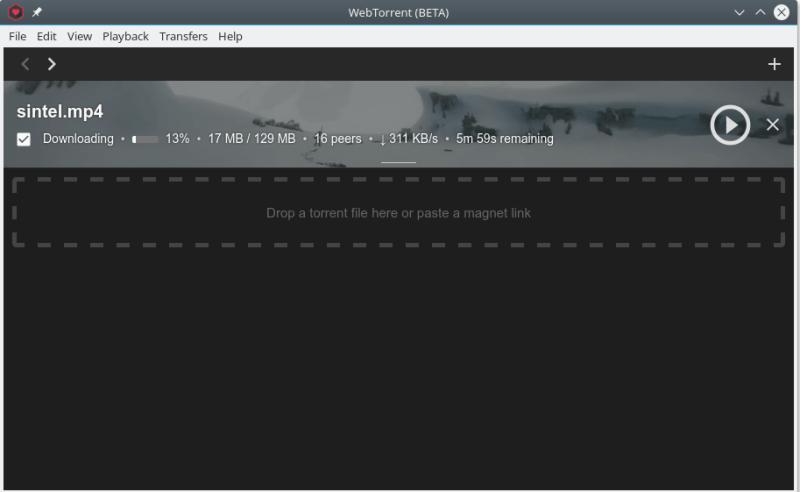 WebTorrent Masaüstü uygulaması arayüzü