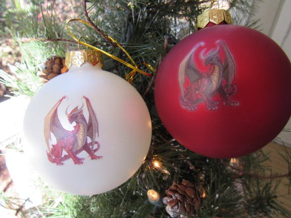 Red and White Genevieve Ornaments