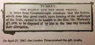 yardımına İrlanda halkının duyduğu şükran sözlerini içeren bir mektup