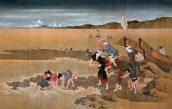 Collecting Shells at Low Tide, Hokusai, Japan, c. 1832-1834. Colour on silk. Osaka Municipal Art Museum, Osaka. Source: http://www.nippon.com/en/currents/d00021/