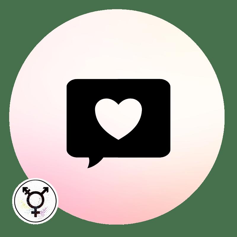 Icon of a heart inside a speech bubble.