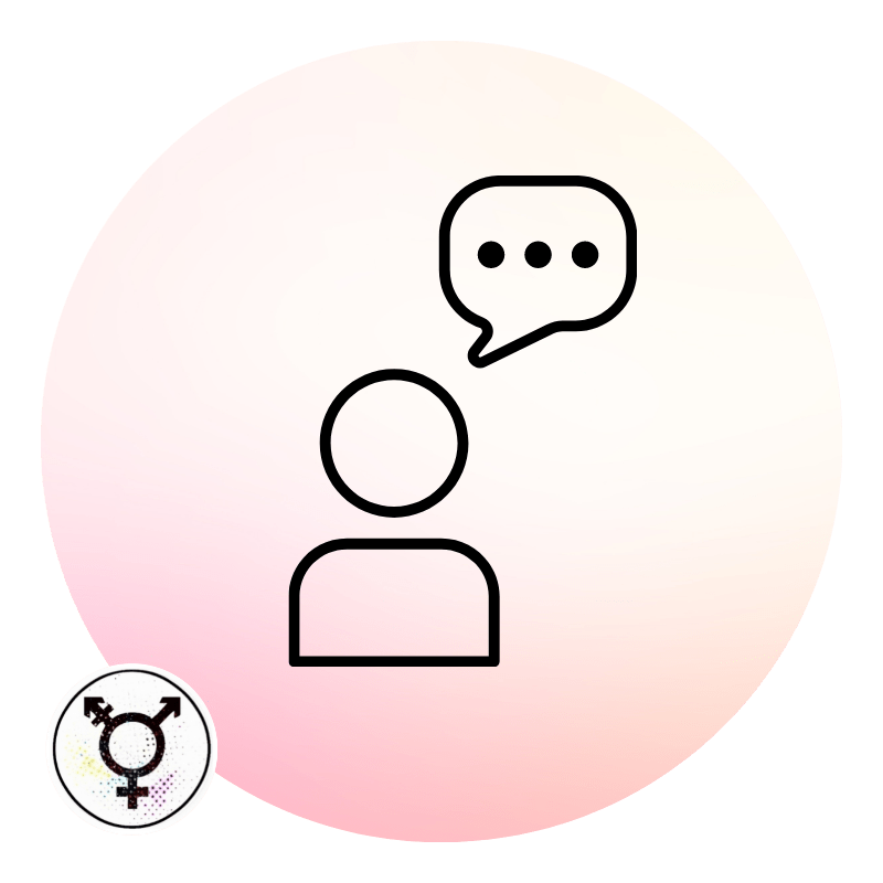 Icon of a person with a speech bubble.