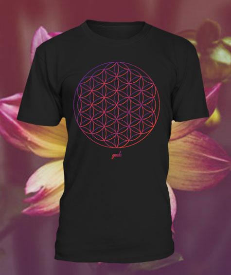 Gendu T-Shirt Blume des Lebens schwarz