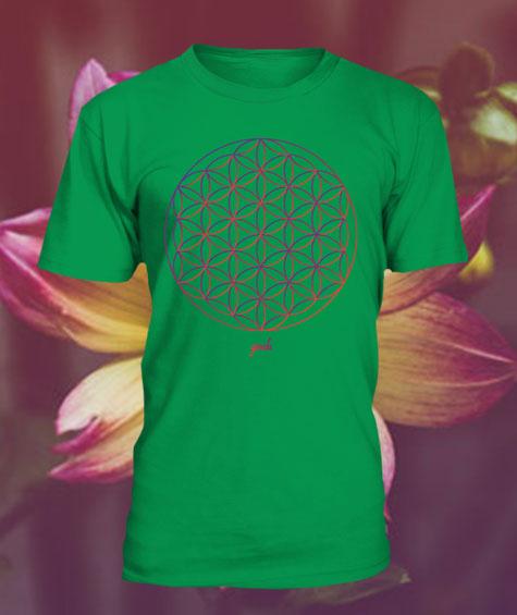 Gendu T-Shirt Blume des Lebens hellgrün