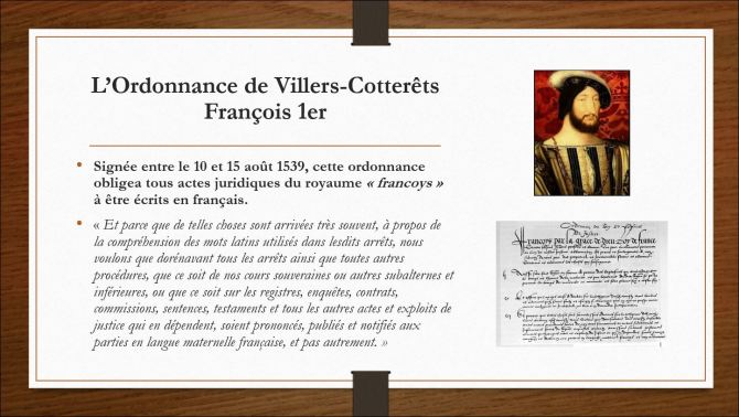 François 1er et l'ordonnance de villers cotterêts