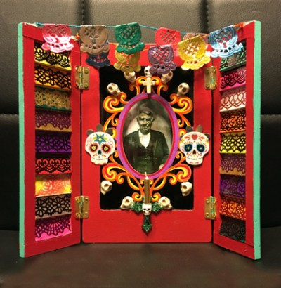 Photo of Day of the Dead Ofrenda made from a Plaid Shutter Picture Frame.