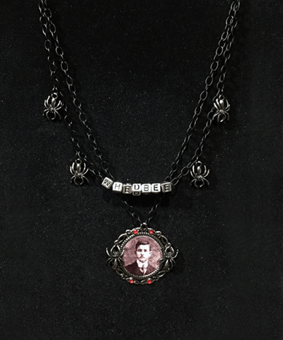 Completed Necklace featuring my Great Grandfather as a young man. Just in time for Halloween !
