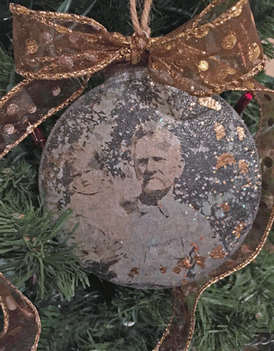 Tin Ornament with the photograph of John L Whedbee Sr and his grandson Charles in aproximately 1934, Arkansas