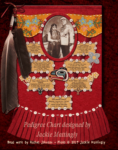Photo of Final artwork designed using elements of fabric and bead work from Julia's mother's tunic.