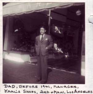 Frank Hernandez (1902 – 1974) in front of his shoe store