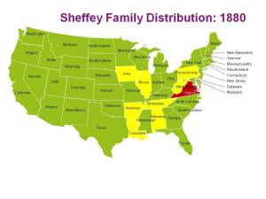 The distribution of the Sheffey family in 1880