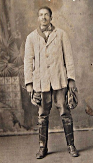 Joseph Sheffey in his jockey silks, around 1900