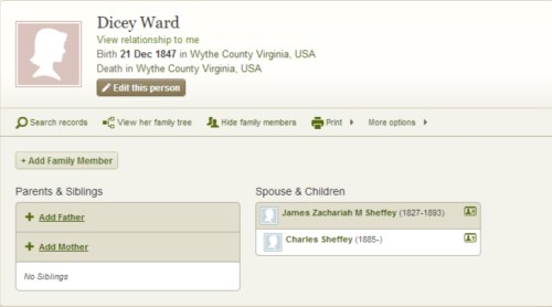 image showing Dicey Ward and James Zachariah Mitchell Sheffey and son Charles Sheffey