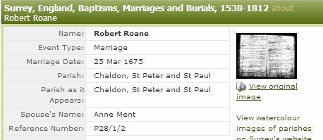 Anne Ment and Robert Roane marriage