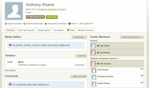 Anthony Roane family tree