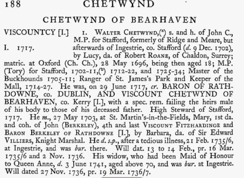 Lucy Roane marriage to John Chetwynd citation