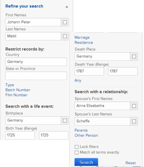 Search criteria for Johann Peter Mattil on FamilySearch.org. The above shows the various filters used.