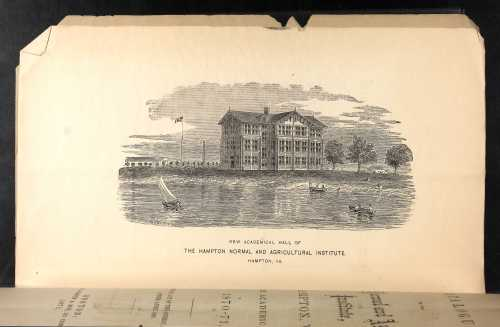 Lithograph of the Hampton Normal and Agricultural Institute in the 1870-71 school year.