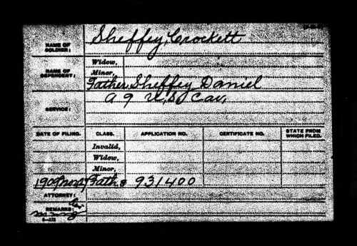 Jefferson Crockett Sheffey's Civil War Pension Record. National Archives and Records Administration. U.S., Civil War Pension Index: General Index to Pension Files, 1861-1934 [database on-line]. Provo, UT, USA: Ancestry.com Operations Inc, 2000. Original data: General Index to Pension Files, 1861-1934. Washington, D.C.: National Archives and Records Administration. T288, 546 rolls.