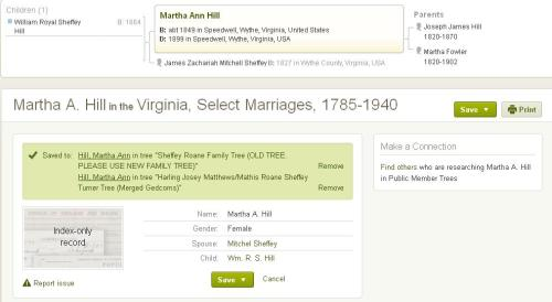 image of William Royal Sheffey Hill's marriage index record