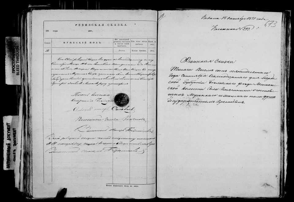 Ревизская сказка 1850 года, Княгинено