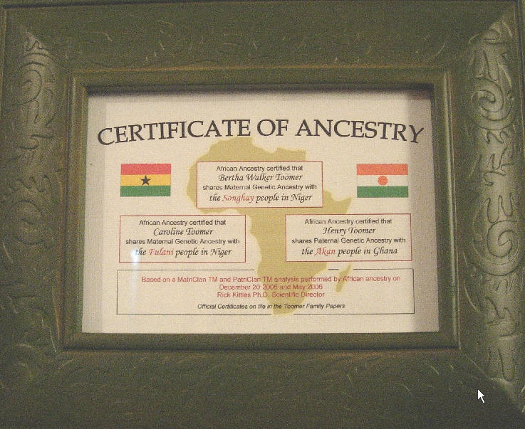 Toomer Certificate of Ancestry