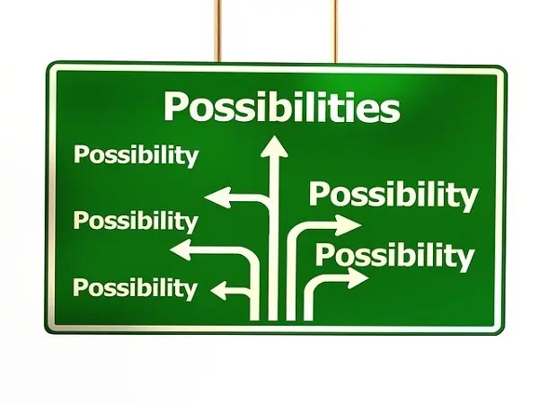 signposts to possibilities in brick wall post