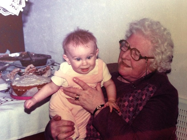 Photo of me as a baby, being held by my Great Grandmother.