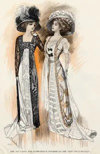 Fashion plate showing Edwardian women wearing very large hats.