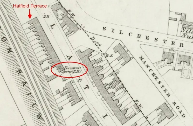 Map showing The Foresters pub and Hatfield Terrace