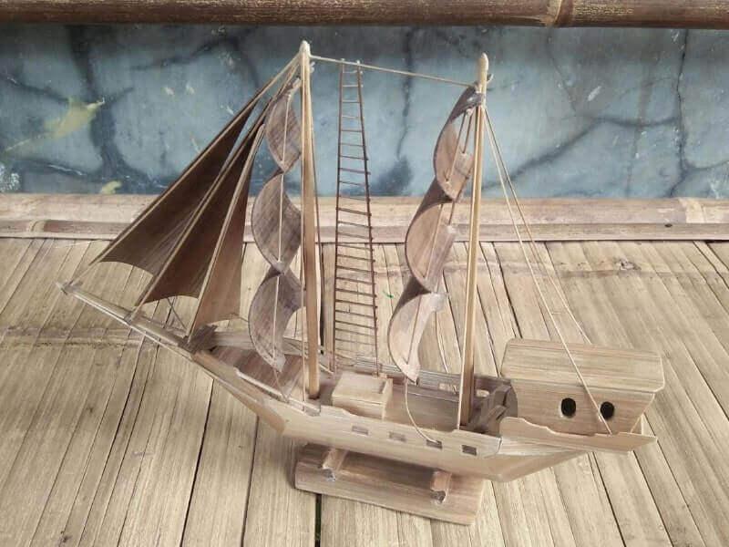 cara membuat kapal dari bambu