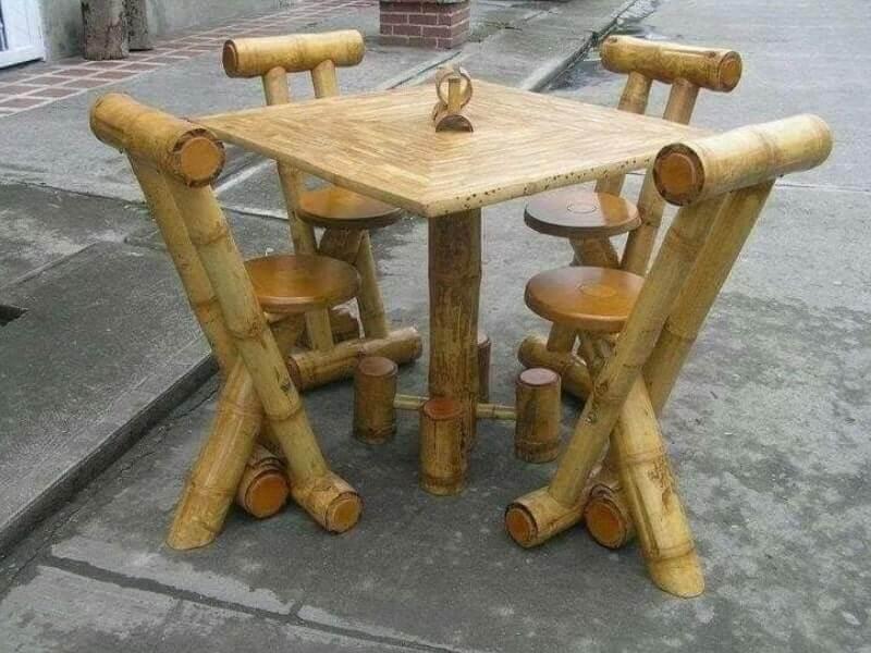 miniatur meja kursi dari bambu kreasi unik