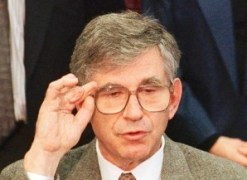 [98-01-24 -- 'The injury can never be repaired. To my point of view, justice is done.' --Charles Epstein -- PHOTOGRAPHER: Associated Press Theodore Kaczynski bombing victim Dr. Charles Epstein adjust his glasses while speaking to reporters at a news conference Friday, Jan. 23, 1998, in San Francisco. Epstein, head of medical genetics at University of California, San Francisco, lost the tips of his fingers and had his hearing damaged by a Kaczynski mail bomb in 1993. (AP Photo/Sam Morris)Photo/Art by:SAM MORRIS] *** [] ** Usable by LA and DC Only **