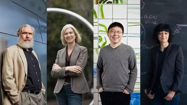 CRISPR 技術的研究先驅,由左至右為 George Church、Jennifer Doudna、張峰以及 Emmanuelle Charpentier。來源:http://www.sciencemag.org/news/2017/02/how-battle-lines-over-crispr-were-drawn