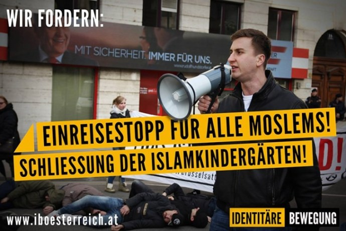 Spontánní demonstrace rakouských identitářů ve Vídni 24. března 2016