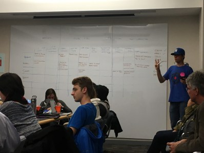 Guest moderator (right) takes helpful notes to help the team make a final product decision.