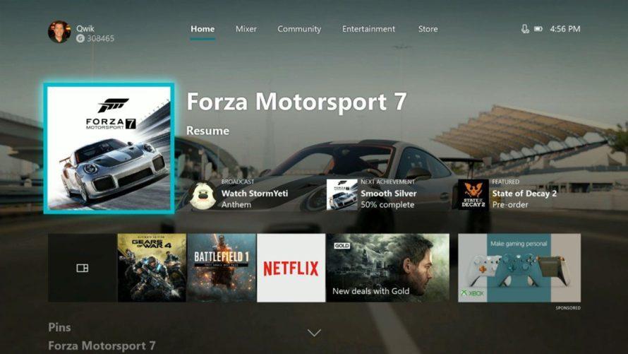 Interfaz de Xbox One y logros