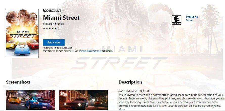 [Actualizada] Se filtra Miami Street, el nuevo exclusivo de conducción de Microsoft para Windows 10