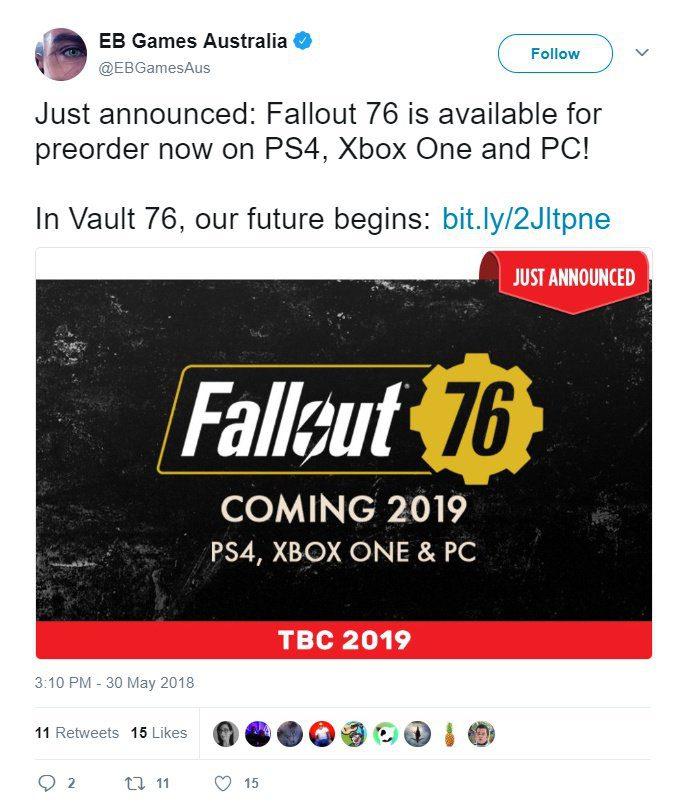 Fallout 76 se lanzaría en 2019